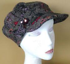 Sassy Ladies Girls Grey Red Purple Floral TWEED SAMPLE 57cm WINTER HAT Peak CAP