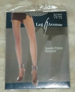 Leg Avenue Plus Size 1X - 3X Queen Black Spandex Fishnet Pin Up Sexy Pantyhose