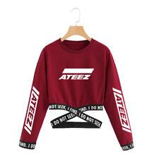Kpop ATEEZ Cropped O-Neck Sweatshirt Women Long Sleeve Cotton Pullover