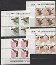 BIRDS, HUMMINGBIRDS ON BRAZIL 1981 Scott 1739-1742 lot / block of 4 sets MNH