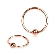 2 PC 16G Rose Gold IP Titanium Captive Bead Ring Earring Labret Tragus Nose Hoop