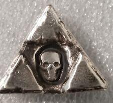 1 oz .999 Silver hand poured triangle sunken skull 3d momento mori pirate loot