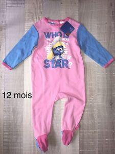 Babygros Pyjama Coton 12 Mois Fille Schtroumpfette Neuf