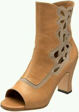 $385 JOHN FLUEVOG MIRACLES BETHSAIDA PEACH LEATHER ANKLE BOOTS 6.5 HEELS SHOE
