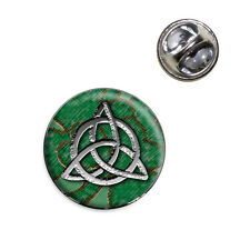 Celtic Trinity Circle Green Clovers Lapel Hat Tie Pin Tack