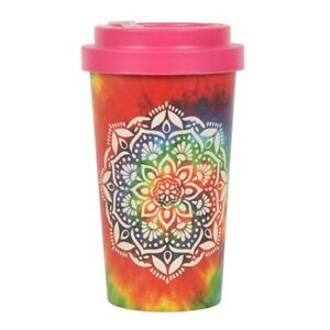 Tie Dye Mandala Eco Bamboo Travel Mug Coffee Tea