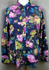 Joules ~ size 16 ~ navy floral print, semi-fitted, long sleeve 'Maywell' shirt