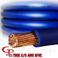 20 ft TRUE AWG 2/0 Gauge OFHC Power Wire BLUE Ground Cable GP Car Audio USA Made