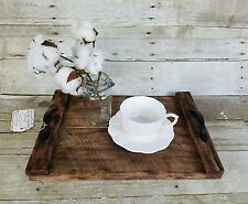 Rustic Serving Tray Brown Stain Coffee Table Ottoman Handmade Reclaimed Wood #37