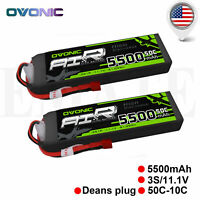 2 Packs OVONIC 11.1V 5500mAh 50C RC Lipo 3S Battery Deans Plug for RC Car Truck