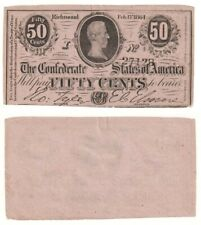 Confederate States Of America 50 Cents Banknote (1864) P.64a - aUNC.