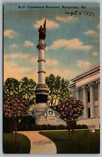 Postcard Montgomery AL c1943 Confederate Monument Soldiers and Sailors