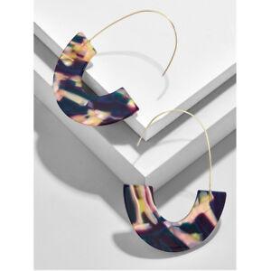 Faidra Resin Drop Earrings Women's Big Geometric Semicircles Shape C Jewelry