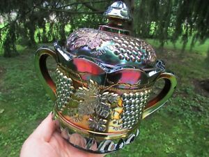 Northwood GRAPE & CABLE ANTIQUE CARNIVAL GLASS CRACKER JAR~PURPLE~BEAUTIFUL