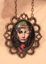 Festooned Brasstone Colorful Rainbow Scarf Gypsy Pendant Necklace Brooch