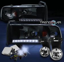 1994-2001 DODGE RAM DRL LED BLACK CRYSTAL HEADLIGHT W/BUMPER FOG LIGHT+8000K HID
