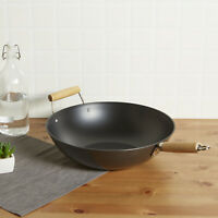 """Non-Stick Wok 13.75"""" Jumbo-Sized Durable Carbon Steel for Stir-Fry Steaming New"""