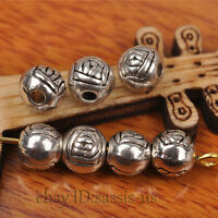 100pcs 6mm Round Tibet silver Bead Spacer DIY Jewery Making Fit Bracelet A7270