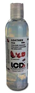 Leather prep colour change Preparation fluid colour strip De-greaser deglaze