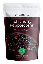 Viva Doria Tellicherry Peppercorn (Whole Black Pepper) for Grinder Refill, 12 oz