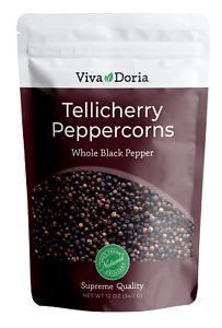 Viva Doria Tellicherry Peppercorn (Whole Black Pepper) for Grinder Refill, 12 oz