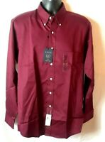 NWT Izod Mens Shirt Sz L 16 Burgundy Long Sleeve Button Down Twill Wrinkle Free
