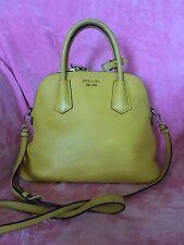 Authentic Prada Saffiano Lux Yellow BL0907 Tote Bag