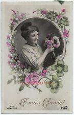 Carte postale ancienne   Femme   Bonne année   Trfèles 4 feuilles   JC