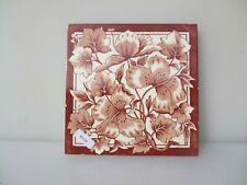 Antique Ceramic Tile Floral Art Nouveau Victorian Old Floral Flowers 1891