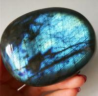 TOP 178.3G Natural Blue Rainbow Labradorite Crystal Healing Madagascar YT08