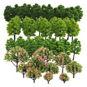 70pcs Model Pine Trees Deep Green Pines For HO O N Z Scale Model Railroad Layout