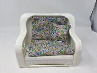 Vintage 1983 Mattel Barbie Wicker Living Room Dream Furniture Sofa Couch - 7404