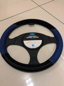 Car Steering Wheel Cover/Glove Universal Soft Grip Blue & Black Suede effect