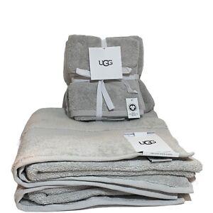 UGG Martis 4 Piece Bathroom Towel Set - Glacier Grey - 100% Organic Cotton - New