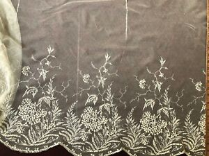 19th C. floral embroidered net skirt / shawl Costume Craft