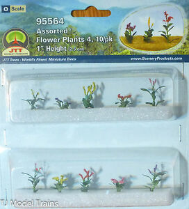 """JTT Scenery Products #95564 Assorted Flower Plants (10 in Pkg) 1"""" Height( Scale)"""