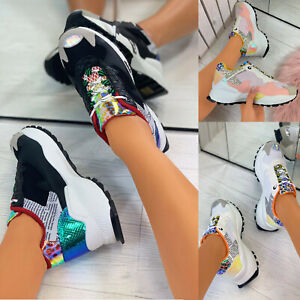 New Womens Contrast Chunky Sole Trainers Comfy Lace Up Sneakers Fashion Shoes
