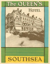 The Queen's Hotel ~SOUTHSEA - PORTSMOUTH ENGLAND~ Beautiful Luggage Label, 1935