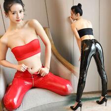 Womens Ladies Vinyl PVC Wet Look Shiny Disco High Waist Leggings Pants Clubwear