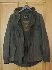 Rare Mens Barbour Tokito Bicycle olive green hooded waxed jacket M Medium 38