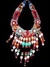 TURKISH HAND STITCHED SEMI PRECIOUS STONES BEADED BIB NECKLACE OOAK- OUTSTANDING