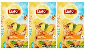 Lipton Tea & Honey To Go Packets MANGO PINEAPPLE Ice Green Tea Mix 30 PACKETS