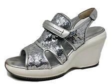 Hogan Wedge Slingback Sandals Metallic Shimmering Silver Women's Sz 8 / EUR 38