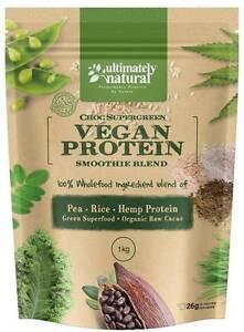 Raw Organic Natural Vegan Protein Powder Pea Rice Hemp Cacao ChocSuperfood Shake