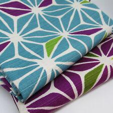Bark cloth geometric flowers -  Sevenberry 100% cotton japanese fabric per FQT