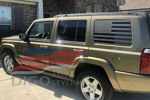 2005-2010 Jeep Commander Quarter Window American Flag Decal Sticker Matte black