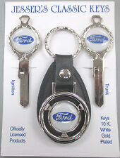 Ford Oval Deluxe Classic White Gold Keys Set NOS 1952 1953 1954 1955 1956 1957