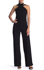 ba25c21c5d3 bebe Womens Black Choker Neck Jumpsuit Sz 2 7640