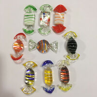 9 Pieces Murano Italy Italian Studio Hand Blown Striped Art Glass Candy Excellen