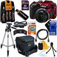 Nikon COOLPIX B500 16MP 40x Zoom Digital Camera, Red + Batts.& Charger +32GB Kit